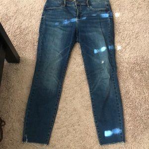 high waist skinny blue jeans